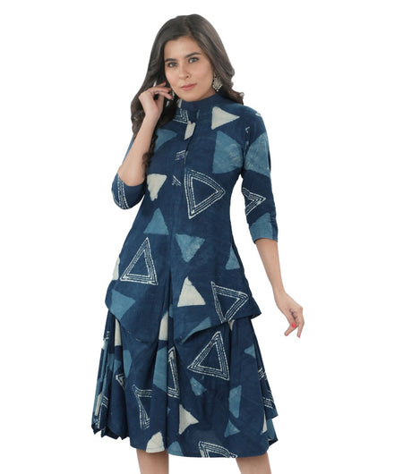 Hand Block Navy Blue Daboo Cotton Dress