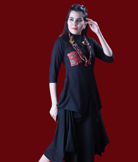 Solid Black Italian cotton Dress