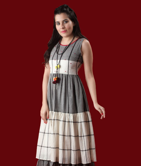Soid White and Grey Handloom cotton Dress