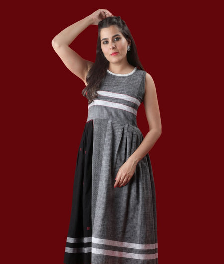 Handwoven Grey Handloom cotton Dress