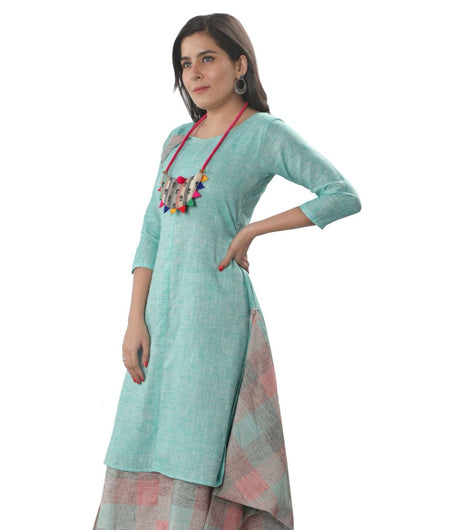 Handwoven Sky Blue Handloom cotton Dress