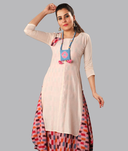 Handwoven Beige and Multicolor Handloom cotton Dress