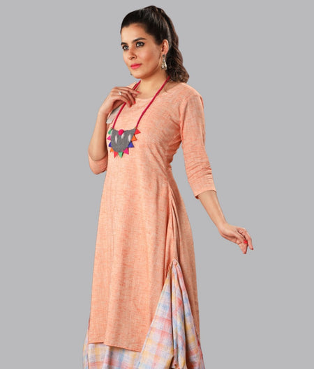 Handwoven Peach Handloom cotton Dress