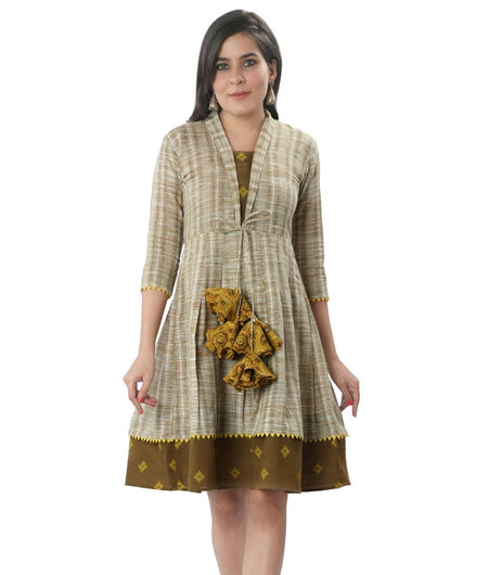 Handwoven Mustard Handloom cotton Dress