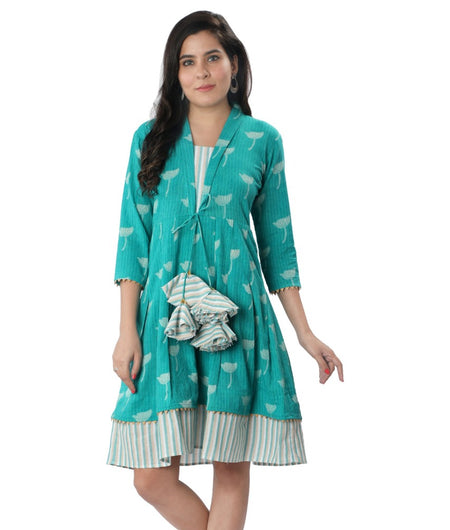 Handwoven Sky-Blue Handloom cotton Dress