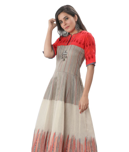 Handwoven Red and Grey Handloom cotton Dress