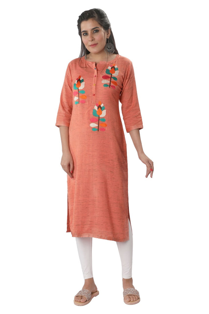 Handwoven Peach Cotton Kurta