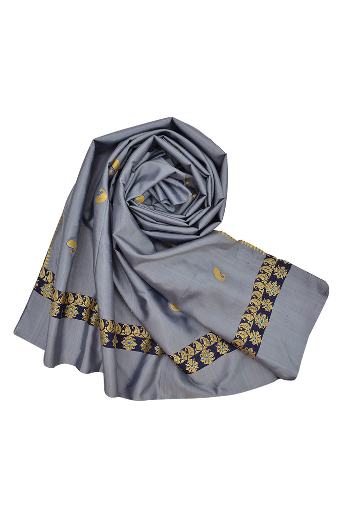 Baluchari Weave Pure Silk Dupatta in bluish grey with floral motif