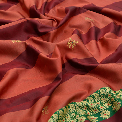 Baluchari Weave Pure Silk Dupatta in rust with floral motif