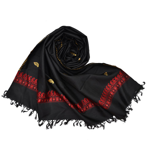 Baluchari Weave Pure Silk Dupatta in black with floral motif