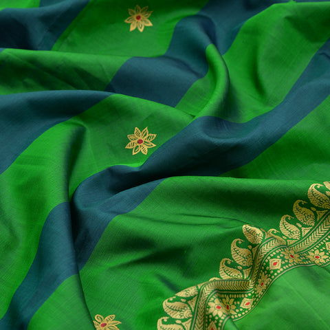 Baluchari Weave Pure Silk Dupatta in green and blue with floral motif