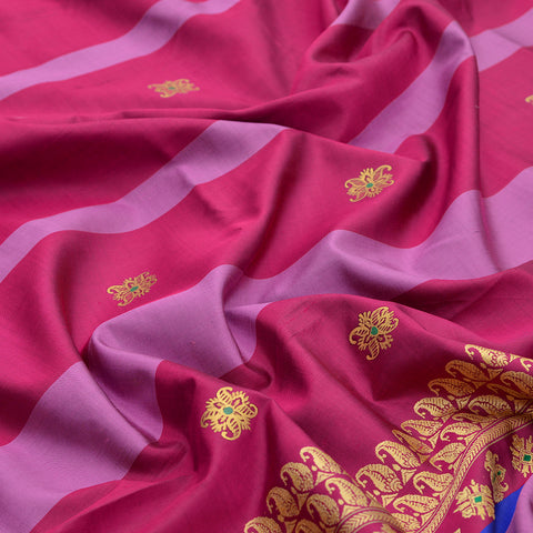 Baluchari Weave Pure Silk Dupatta in maroon and lavender with floral motif