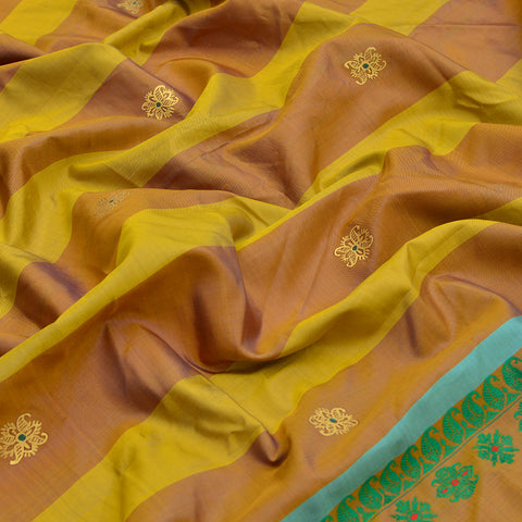 Baluchari Weave Pure Silk Dupatta in mustard yellow with floral motif