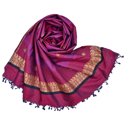 Baluchari Weave Pure Silk Dupatta in rani pink with floral motif