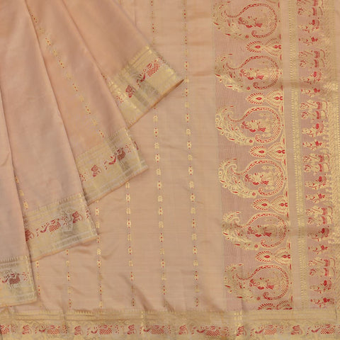 Baluchari tussar silk beige Saree with zari chain motif