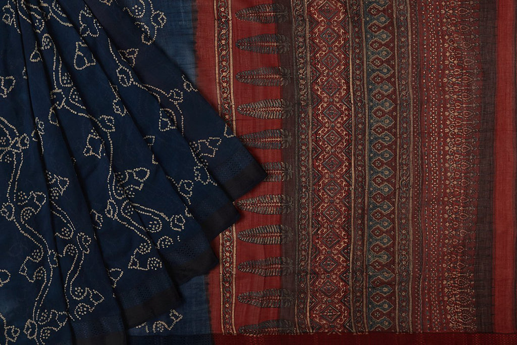 maheshwari silk Blue climbing trees Saree