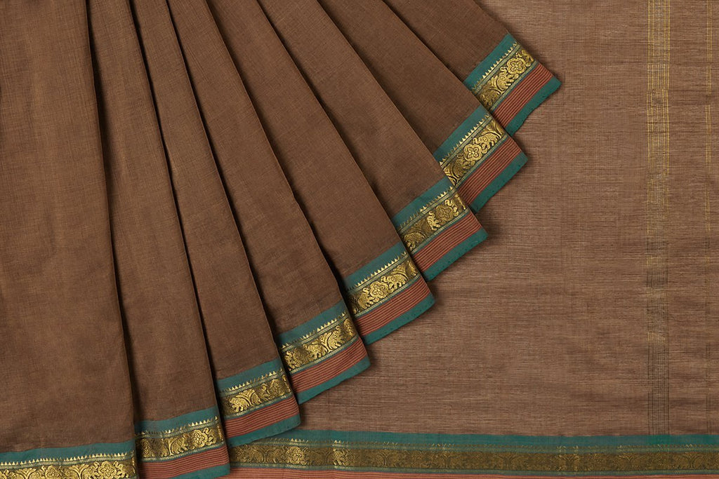 south cotton Brown plain Saree