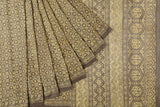 Block Print silk Beige abstract jaal Saree