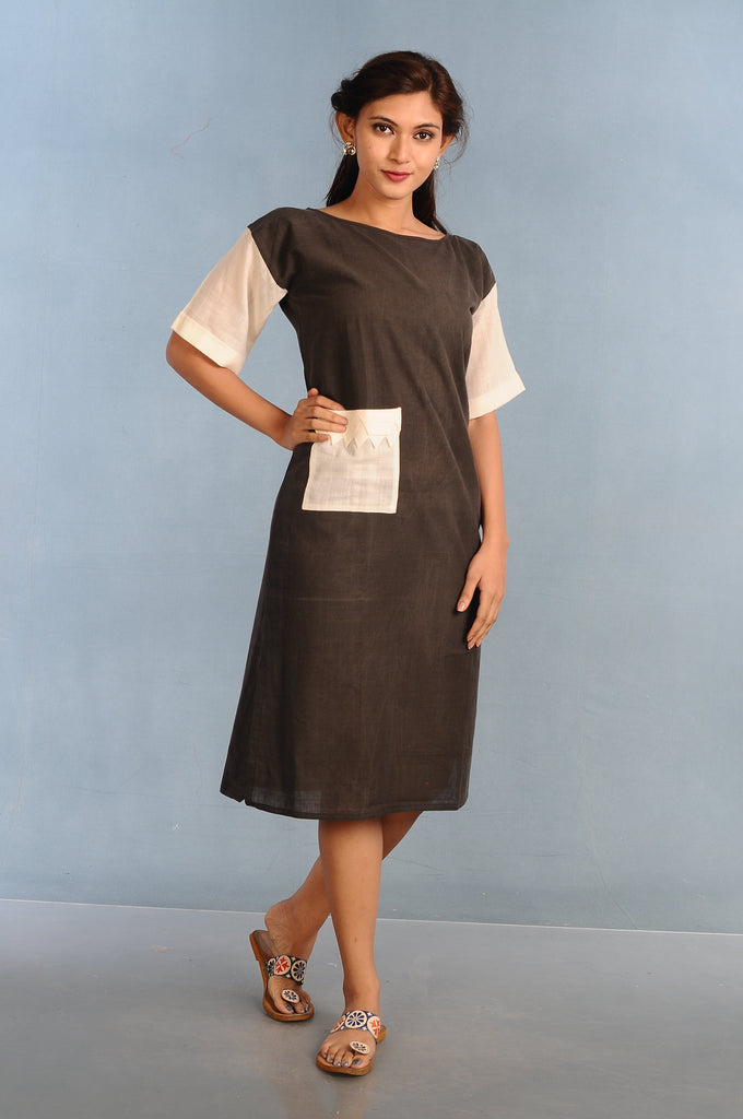 black Handloom Contemporary style Tunic Dress