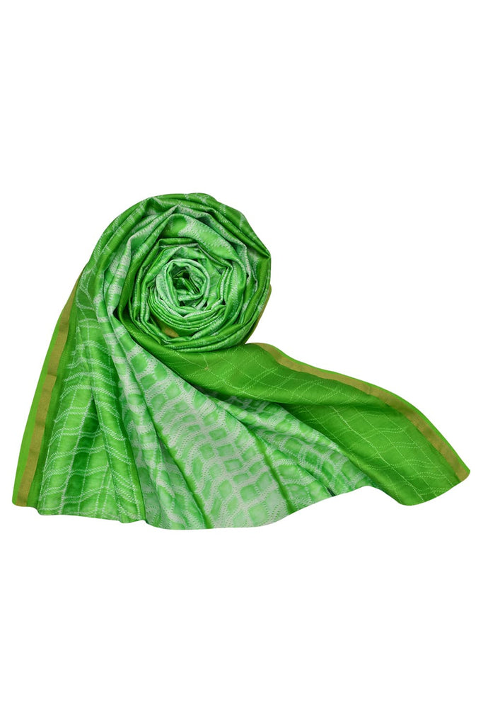 silk light green Shibori Dupatta