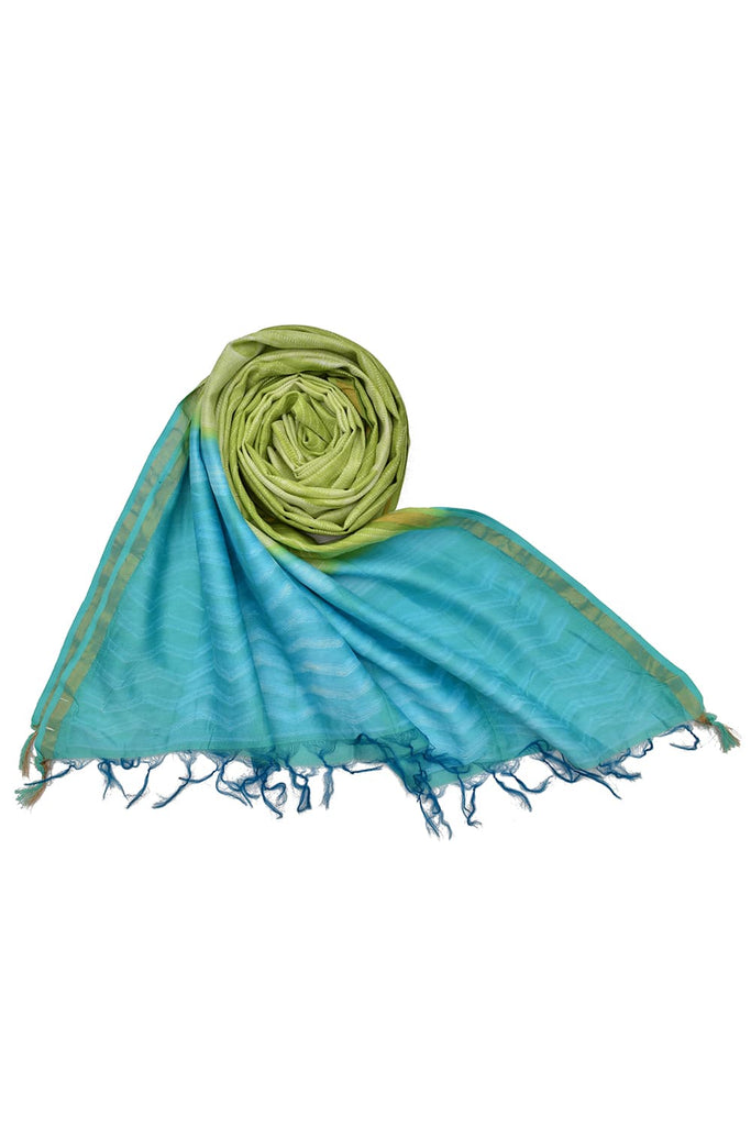 silk olive green and blue Shibori Dupatta