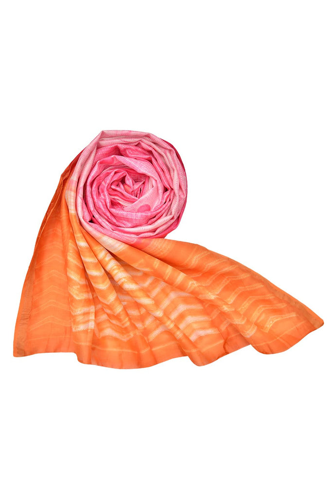 silk baby pink and orange Shibori Dupatta
