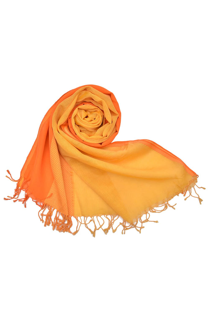 maheshwari silk light orange handloom Dupatta