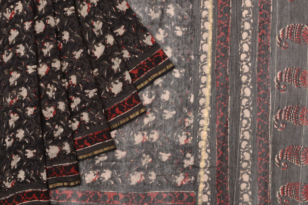 chanderi silk black floral motif Saree