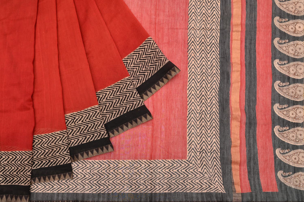 handloom gicha silk red black plain saree