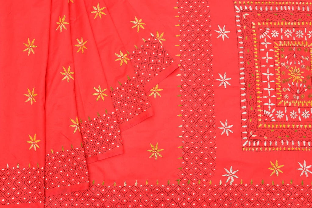 Kantha silk red floral kantha all over saree