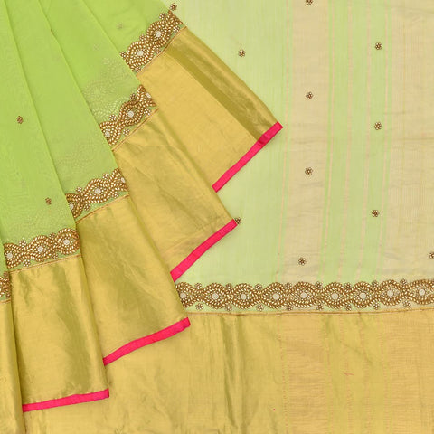 Embroidered silk cotton green floral embroidery saree