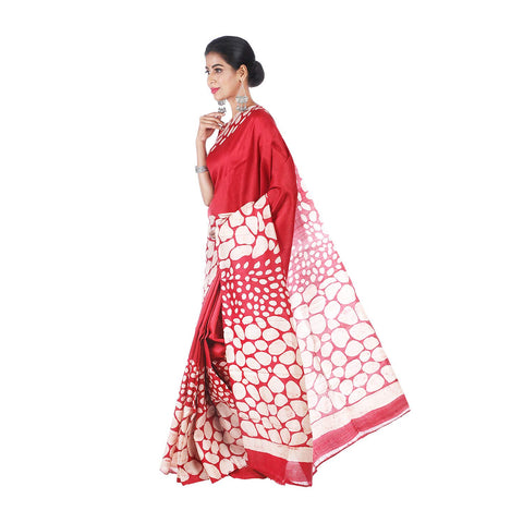 Mrudula Handmade Women's Batik Print on Pure Silk Saree (Red, A-Y-MRU-SR-DR-001)