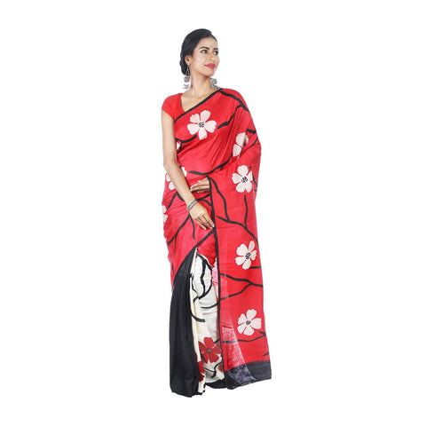 Mrudula Handmade Women's Hand Painting on Pure Silk Saree (Red, A-Y-MRU-SR-DR-002)