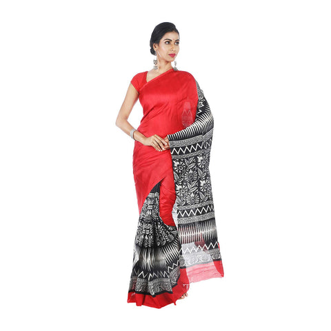 Mrudula Handmade Women's Pure Silk Half and Half Hand Block Saree (Red, A-Y-MRU-SR-DR-006)