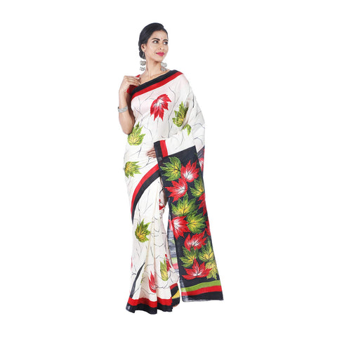 Mrudula Handmade Women's Pure Silk Hand Painted Saree (White, A-Y-MRU-SR-DR-007)