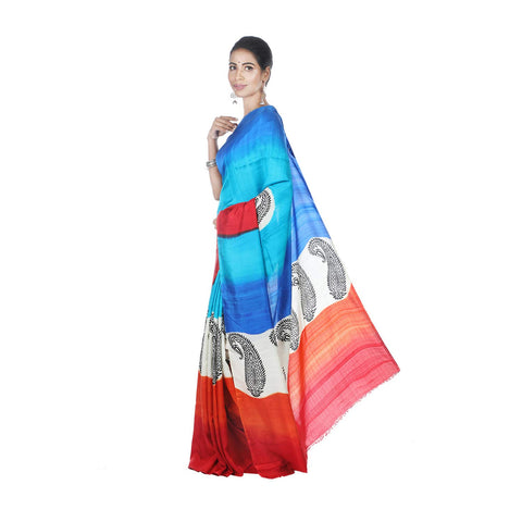 Mrudula Handmade Women's Pure Silk Hand Block Shaded Saree (Multi-Coloured, A-Y-MRU-SR-DR-012)