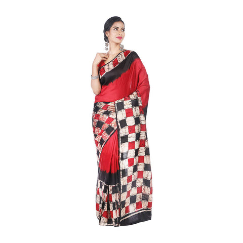 Mrudula Handmade Women's Pure Silk Batik Print Saree (Multi-Coloured, A-Y-MRU-SR-DR-014)