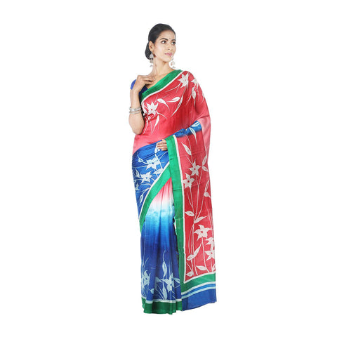 Mrudula Handmade Women's Pure Silk Hand Painted Saree (Blue, A-Y-MRU-SR-DR-015)
