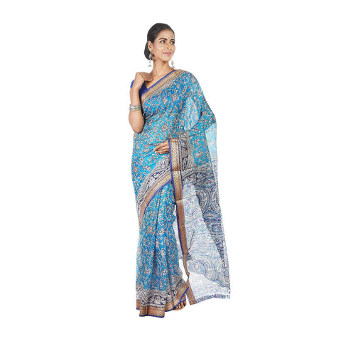 Mrudula Handmade Women's Pure Silk Hand Block Saree without BP (Blue, A-Y-MRU-SR-DR-019)