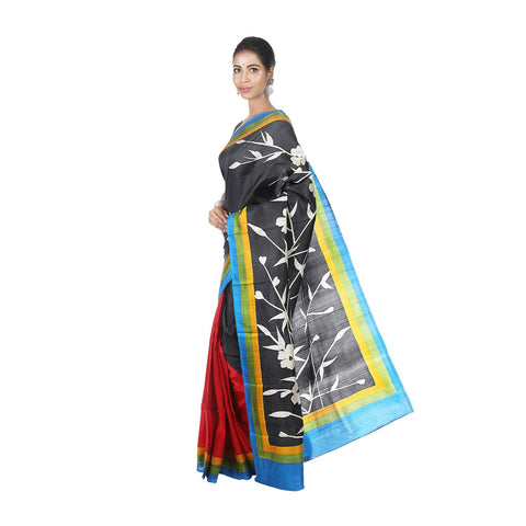 Mrudula Handmade Women's Pure Silk Hand Painted Saree (Black, A-Y-MRU-SR-DR-020)