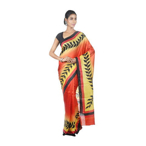 Mrudula Handmade Women's Pure Silk Hand Painted Saree (Yellow, A-Y-MRU-SR-DR-025)