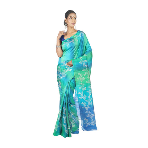 Mrudula Handmade Women's Pure Silk Block Print Shaded Saree (Blue, A-Y-MRU-SR-DR-026)