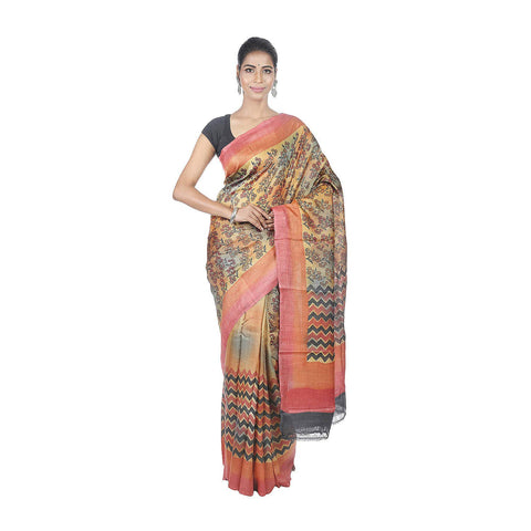 Mrudula Handmade Women's Pure Tussar Silk Hand Block Saree (Multi-Coloured, A-Y-MRU-SR-DR-034)