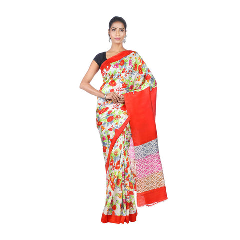 Mrudula Handmade Women's Pure Silk Hand Block Print Saree (Multi-Coloured, A-Y-MRU-SR-DR-040)
