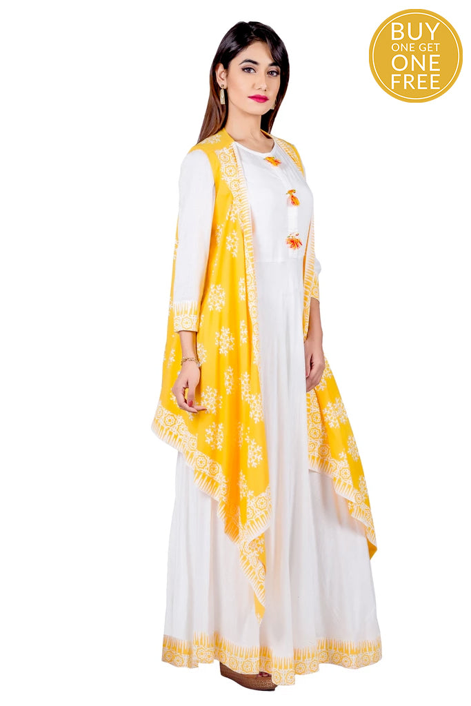 Yellow and White Hand Block Rayon and Cotton Maxi Dress