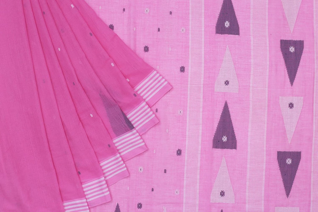 Phulia Handloom Muslin Light Pink Saree