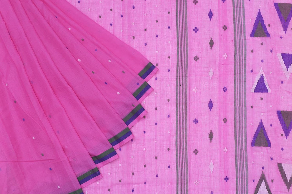Phulia Handloom Muslin Purple Saree