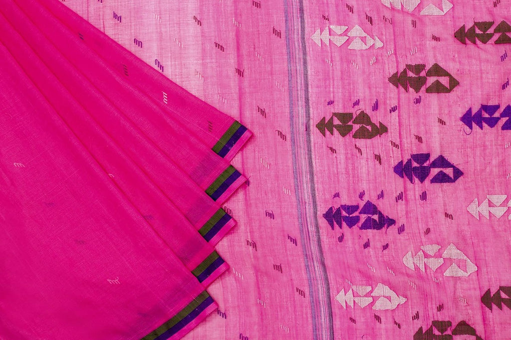 Phulia Handloom Cotton Light Pink Saree