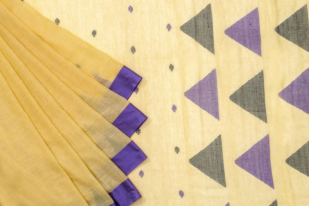 Phulia Handloom Cotton Cream Saree