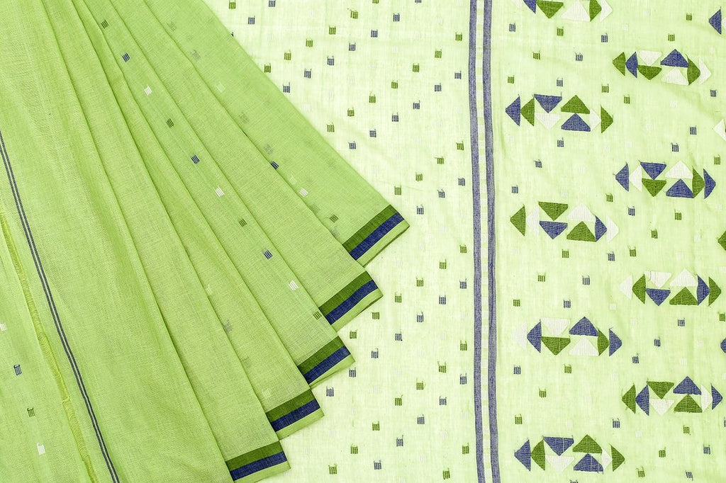 Phulia Handloom Muslin Light Green Saree